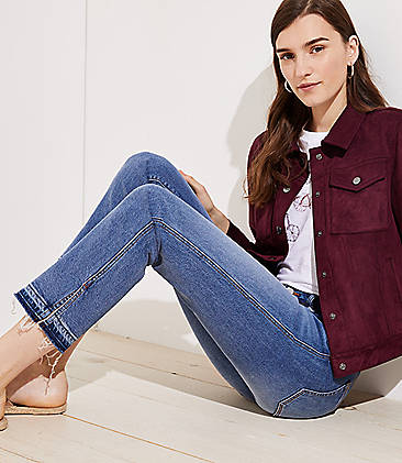 650bbf5ae9 Modern Slit Unpicked Straight Leg Jeans in Mended Mid Indigo Wash
