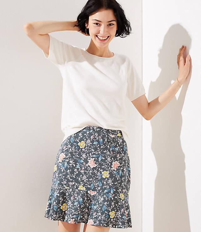 Petite Floral Vine Flippy Skirt