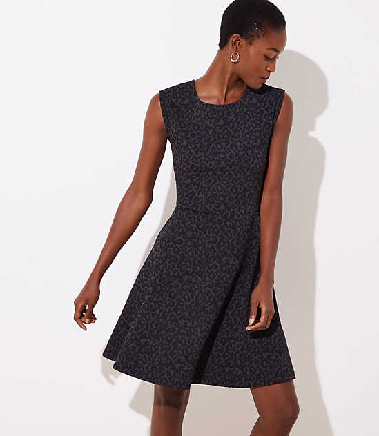 leopard jacquard flare dress loft