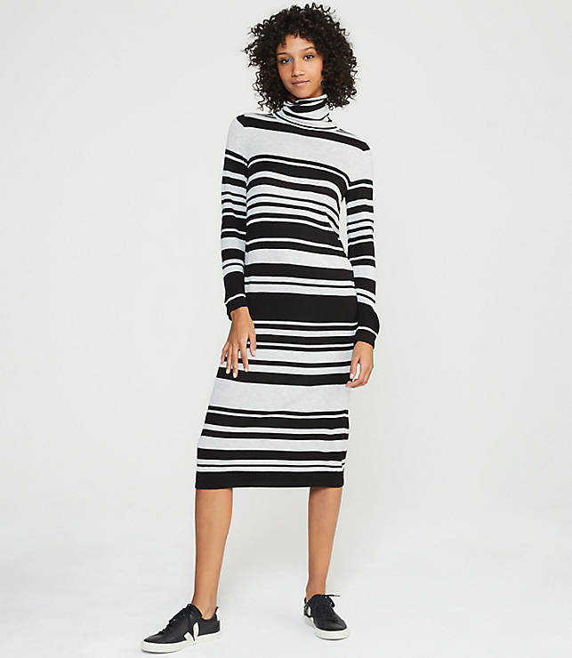 ca2f1f57d9c Lou   Grey Striped Turtleneck Maxi Sweater Dress