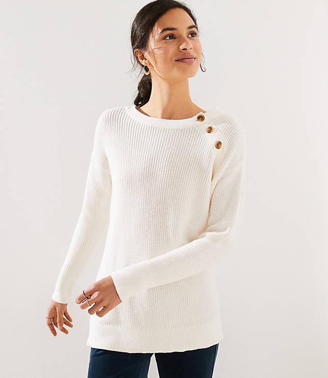 5b77a278 Marled Shoulder Button Sweater | LOFT