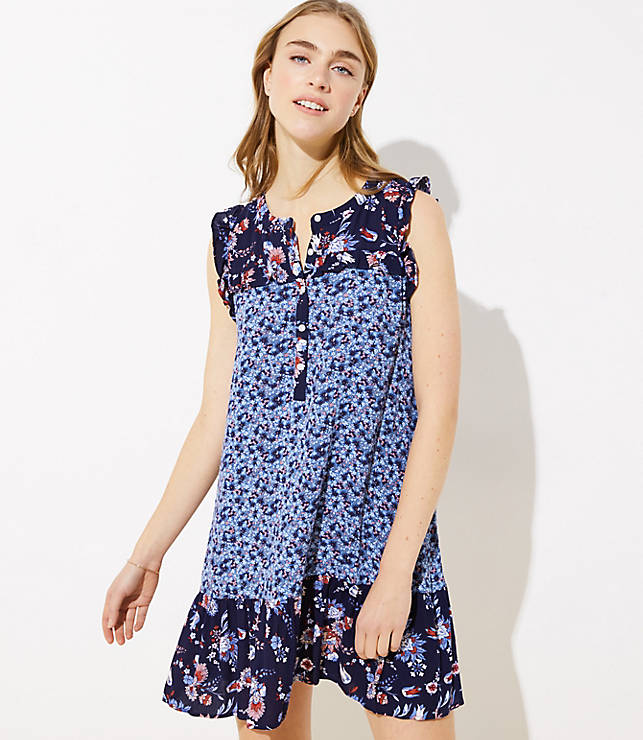 fb7f9fc54f LOFT Beach Floral Ruffled Henley Dress | LOFT