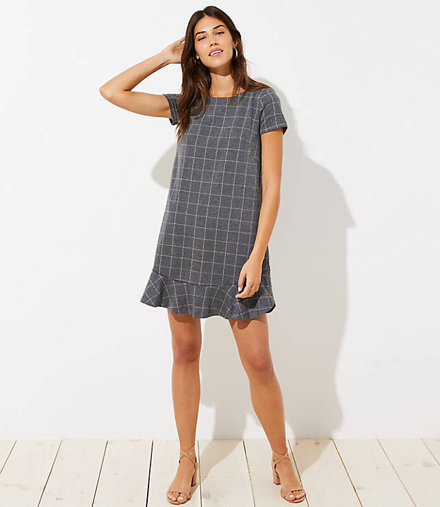 Petite Windowpane Flounce Dress