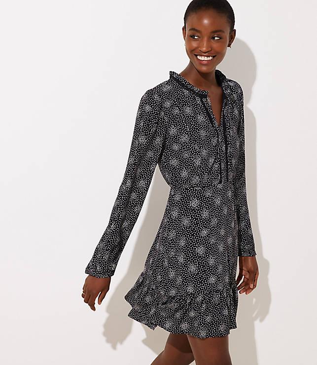 Petite Scattered Dot Split Neck Dress