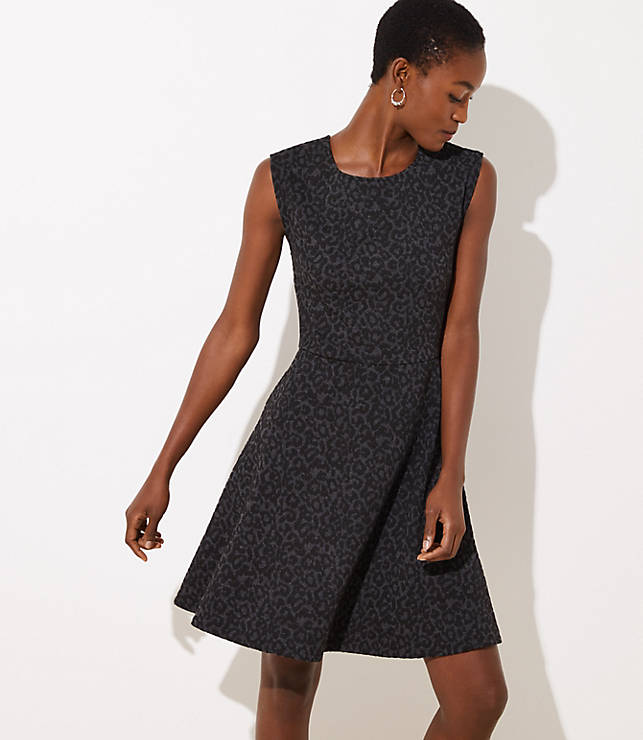 Petite Leopard Jacquard Flare Dress