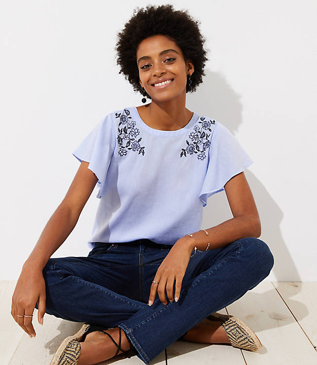 Petite Floral Embroidered Flutter Top
