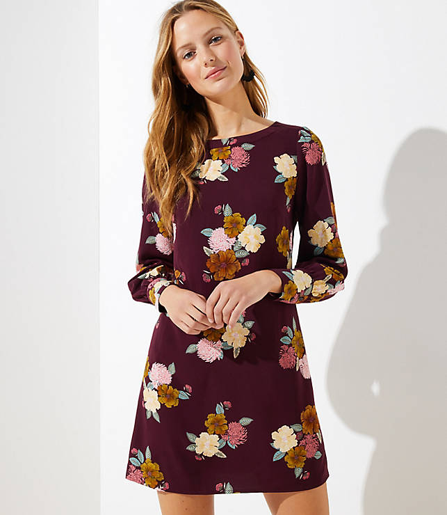 Petite Floral Cuffed Shift Dress