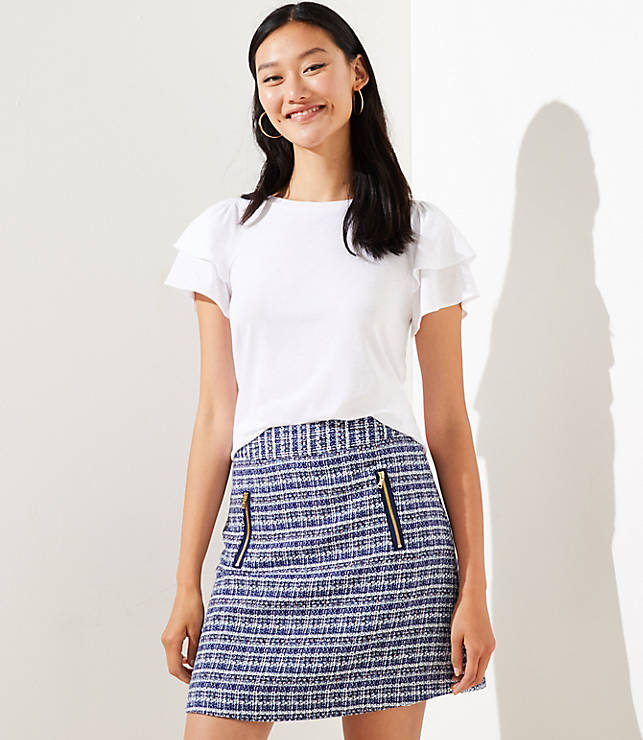 Petite Tweed Zip Pocket Shift Skirt