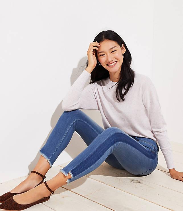 Petite Modern Step Hem Skinny Jeans in Shadow Stripe Wash
