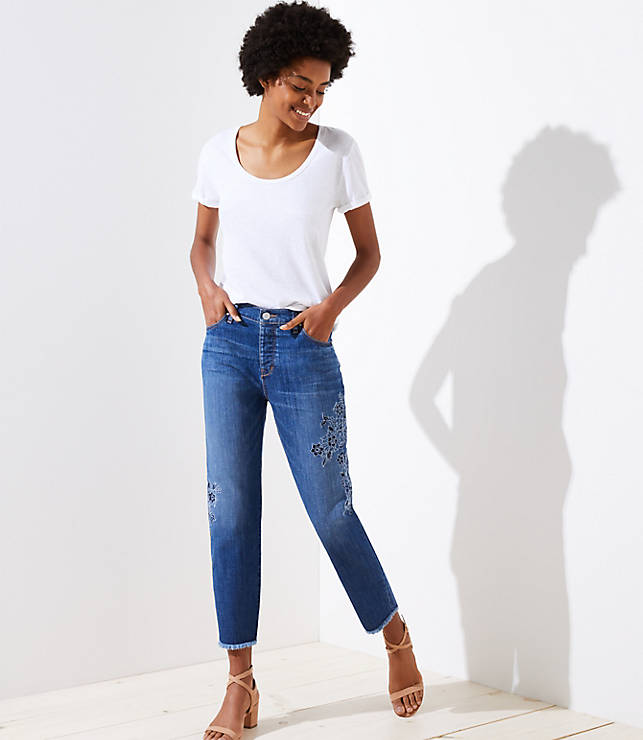 Petite Floral Embroidered Boyfriend Jeans in Classic Blue Wash