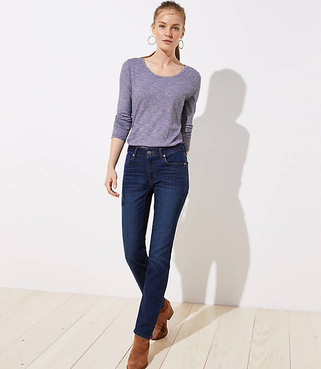 Petite Curvy Straight Leg Jeans in Dark Indigo Wash