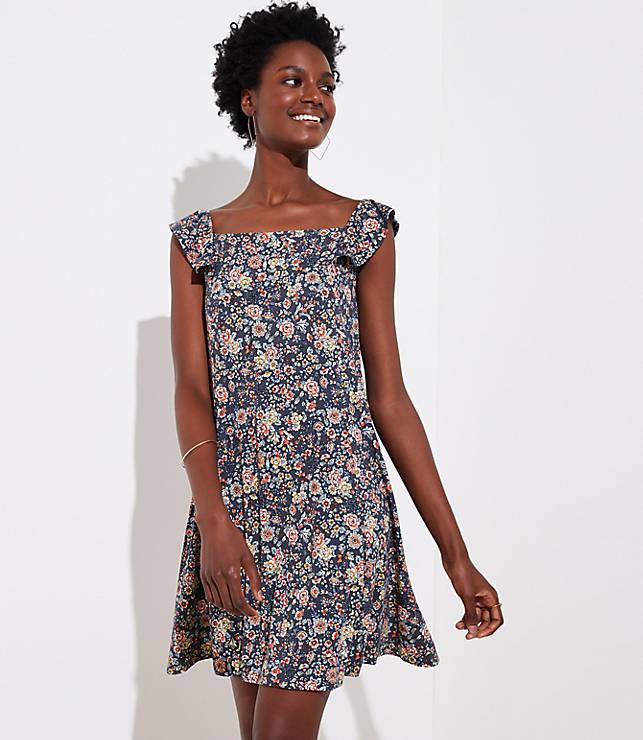 Petite Rose Garden Flutter Swing Dress