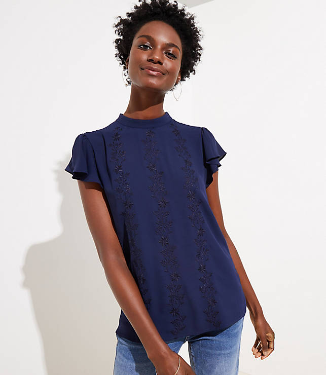 Petite Floral Embroidered Mock Neck Top
