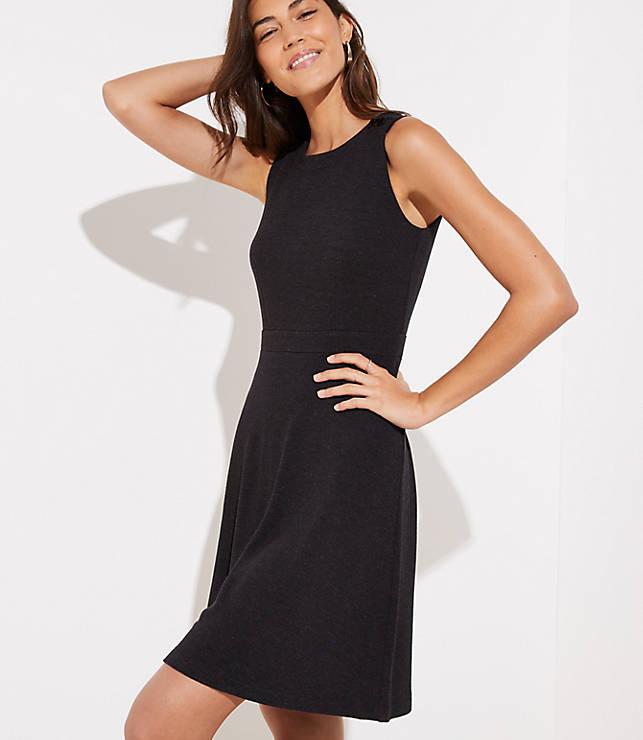 Petite Shoulder Button Flare Dress