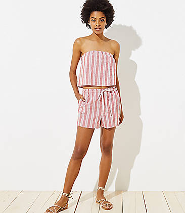4e23e5aade82 LOFT Beach Striped High Waist Drawstring Shorts