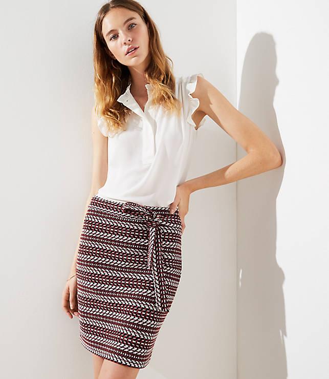 Petite Striped Tweed Tie Waist Skirt
