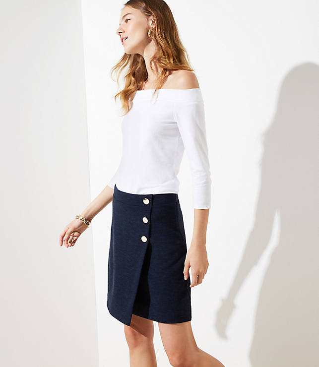Petite Button Wrap Skirt