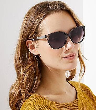080d0abd899 Metallic Arm Tortoiseshell Print Cateye Sunglasses