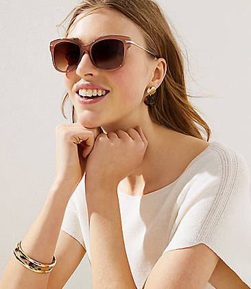 975cff19b1c Tortoiseshell Print Metallic Arm Cateye Sunglasses