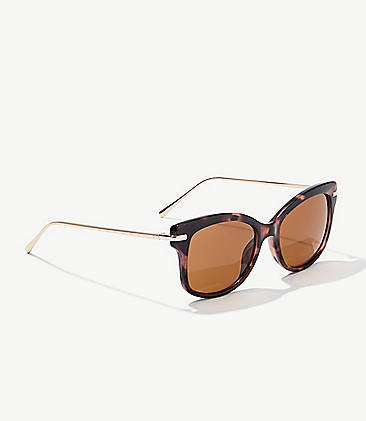 c7ff03252d Tortoiseshell Print Metallic Arm Cateye Sunglasses