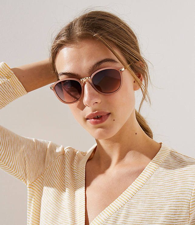 Metallic Arm Round Sunglasses by Loft