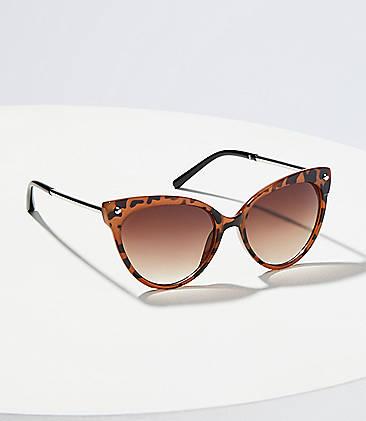 1afaaeb2b58c Metallic Arm Tortoiseshell Print Cateye Sunglasses