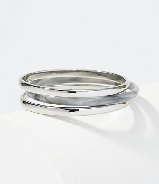 LOFT Metallic & Marbleized Bangle Set