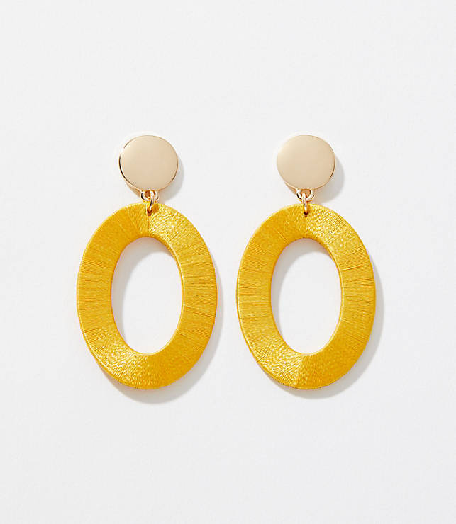 Thread Wrapped Ring Drop Earrings by Loft