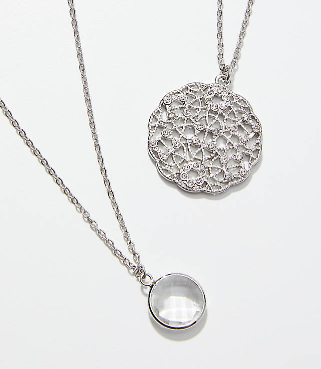 Pave Filigree Layered Pendant Necklace Set by Loft