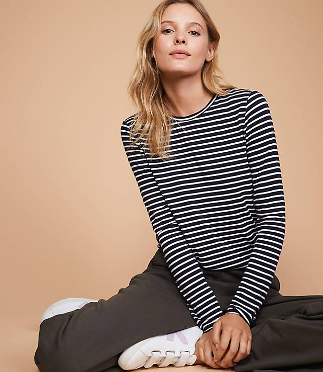 10c3953e55f Lou   Grey Striped Softened Jersey Layering Tee