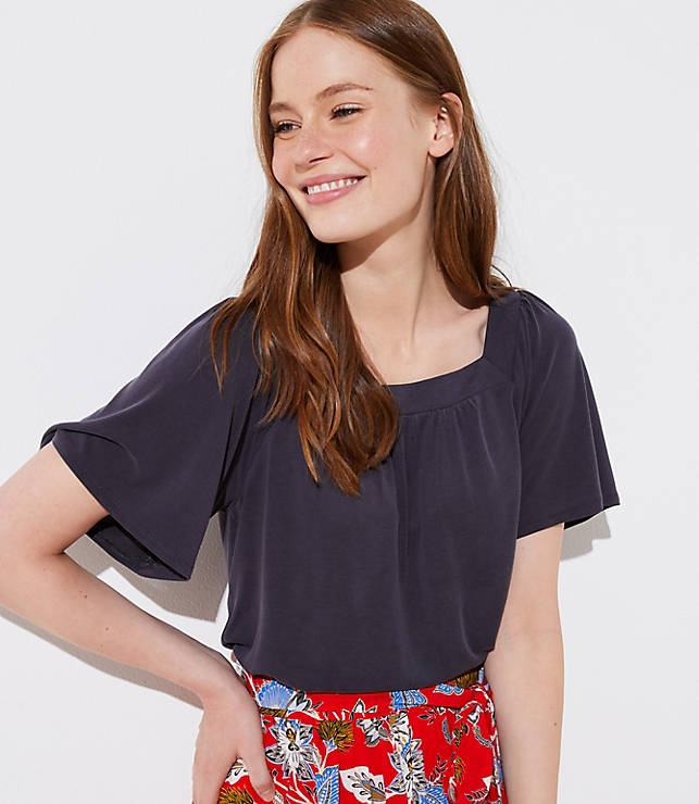 Petite Sandwashed Square Neck Tee