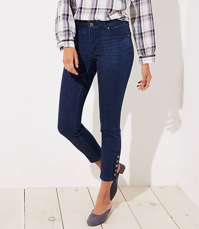 Petite Curvy Button Cuff Skinny Jeans in Rich Mid Indigo Wash