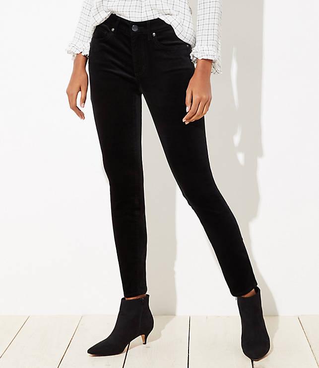 Curvy Velvet Skinny Jeans in Black  44a6b96f2