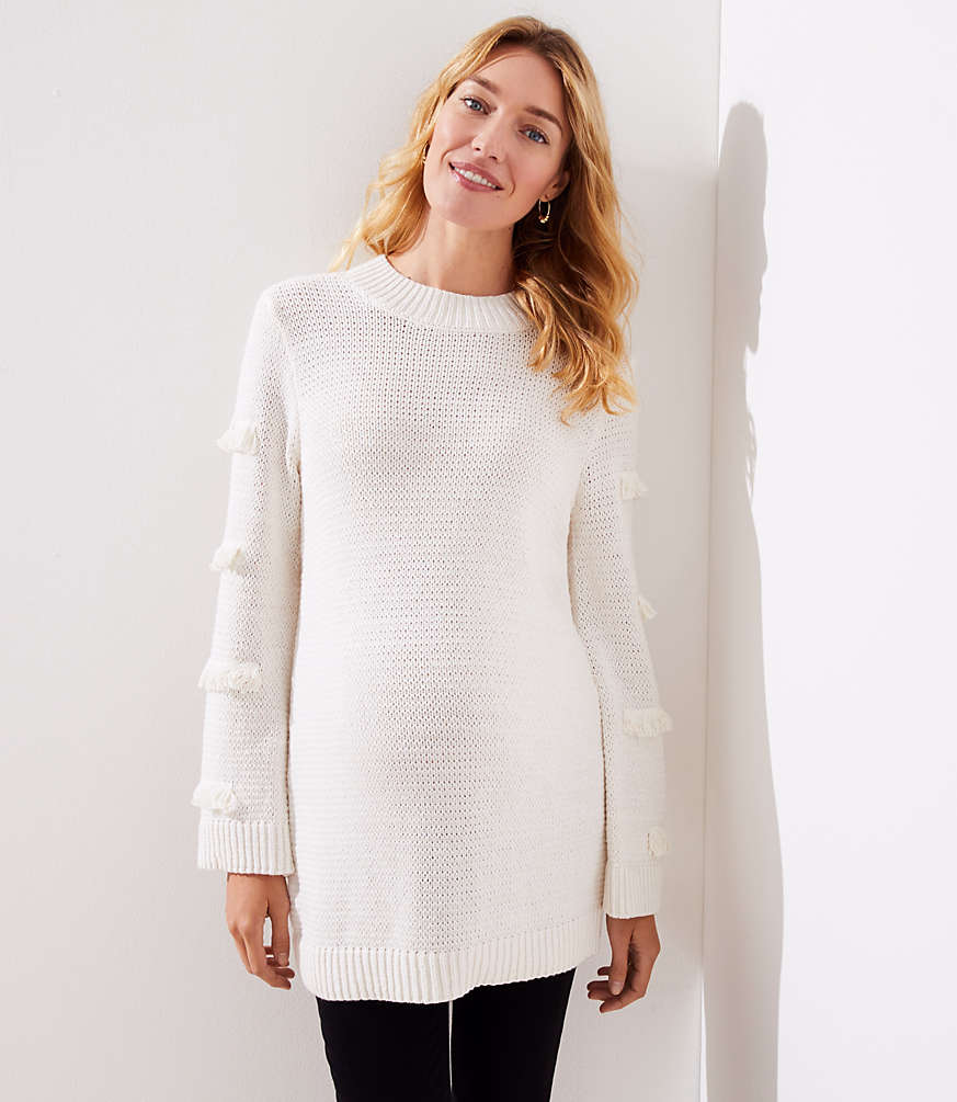 3d60c7ac11e894 Maternity Abstract Fringe Sweater | LOFT