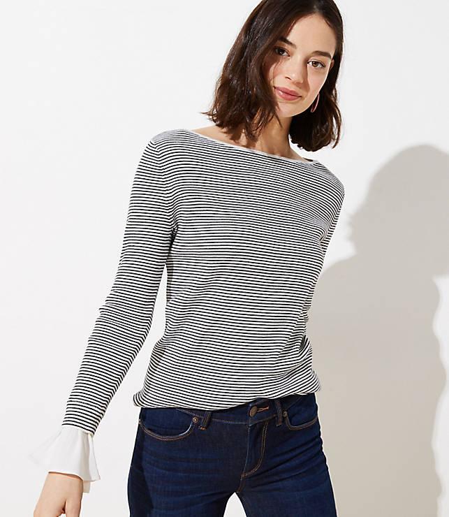 450ca469f67 Striped Flounce Cuff Sweater