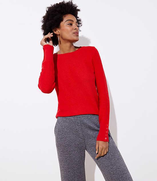 Textured Button Cuff Sweater