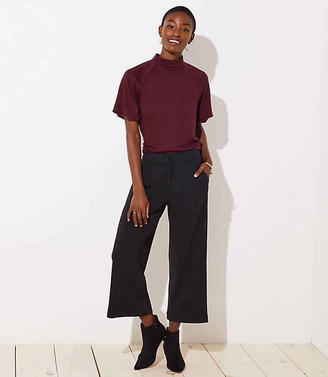 Petite Ribbed Wide Leg Crop Pants