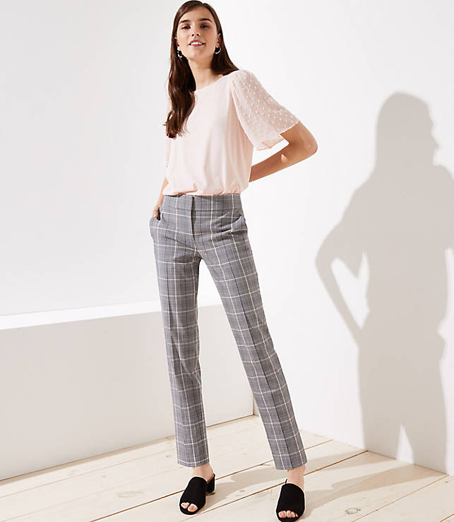 Petite Slim Pencil Pants in Plaid in Marisa Fit
