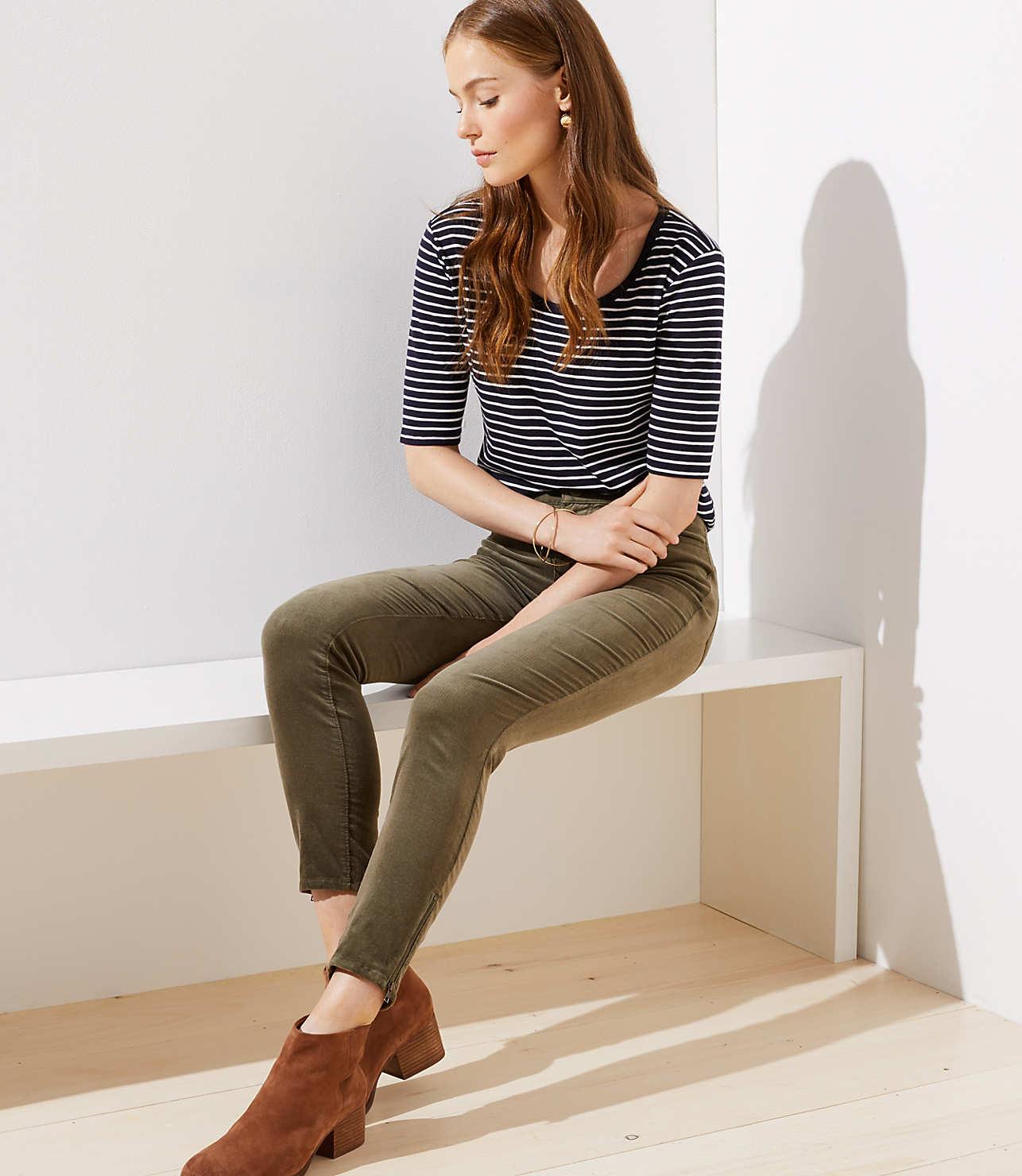 Petite Modern Ankle Zip Corduroy Skinny Pants by Loft