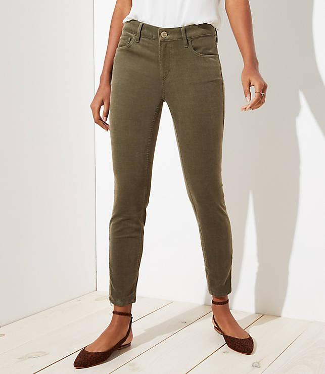 Petite Curvy Ankle Zip Corduroy Skinny Pants