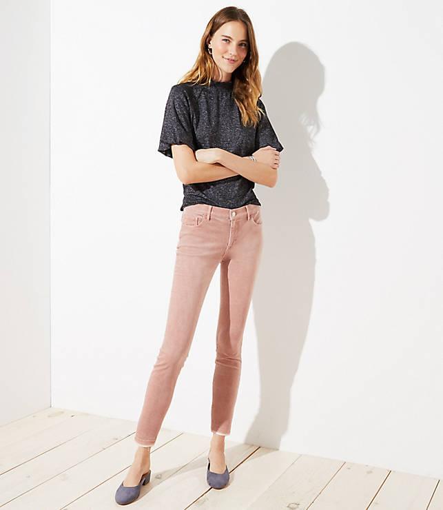 Petite Modern Frayed Corduroy Skinny Pants