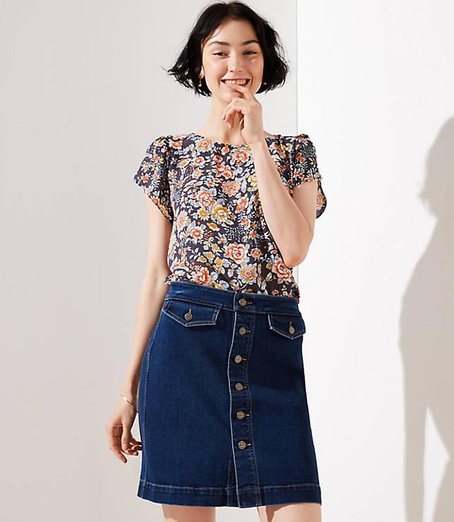 Petite Button Denim Skirt