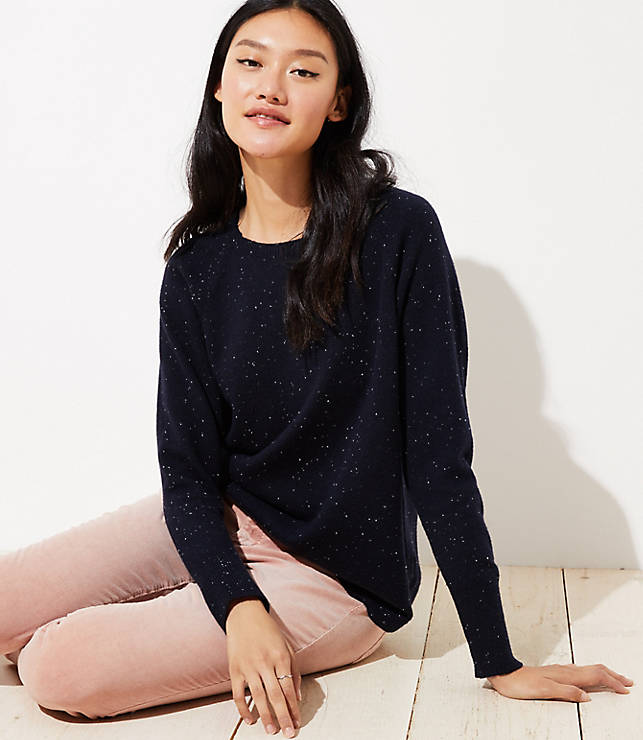 Petite Speckled Dolman Sweater