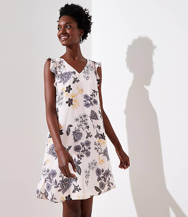Petite Floral Flutter Shirttail Dress