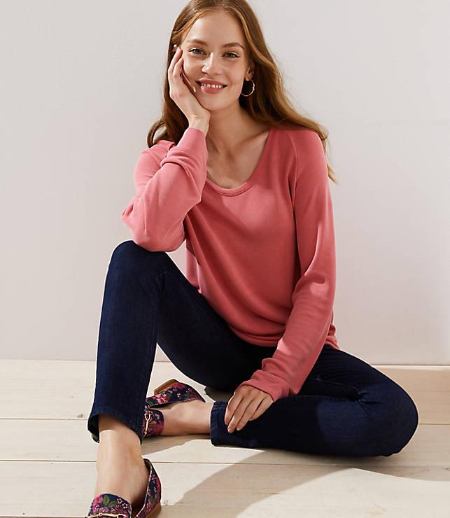 Petite Sandwashed Dolman Sweatshirt