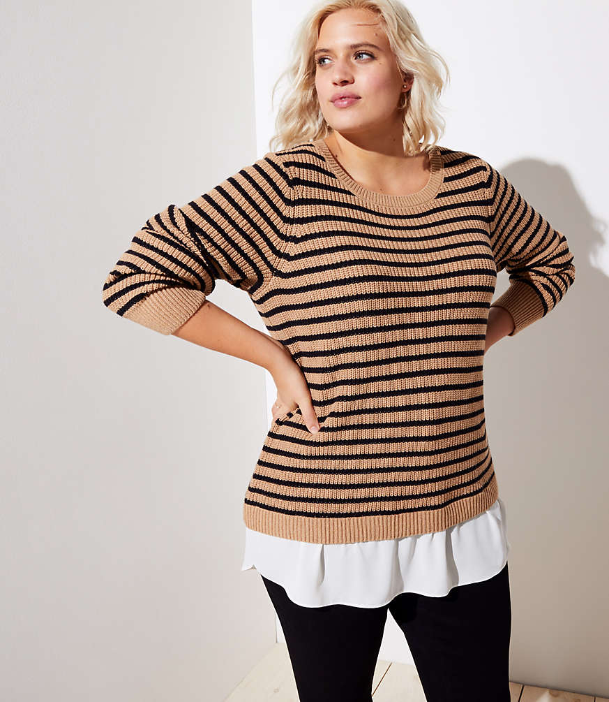 af49f4d49cfb0 LOFT Plus Striped Split Back Mixed Media Sweater | LOFT
