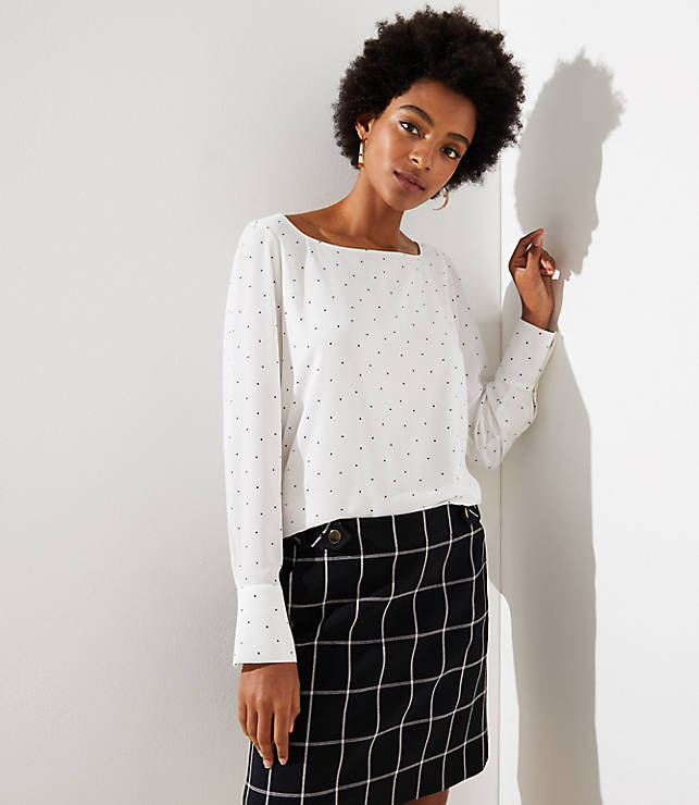 Petite Dotted Square Neck Blouse
