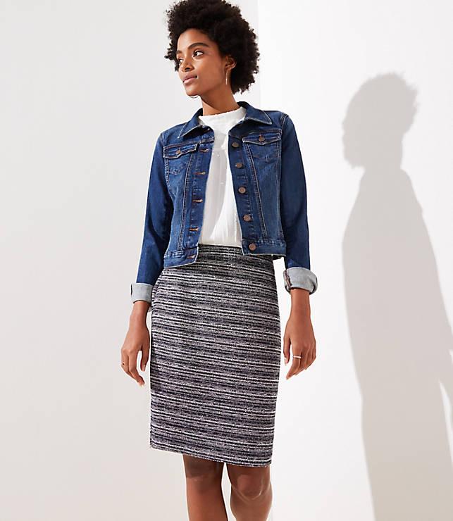 Petite Striped Tweed Pencil Skirt