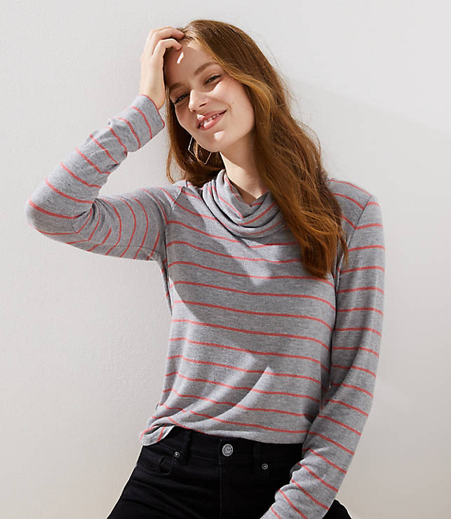 Petite Striped Cowl Neck Tunic