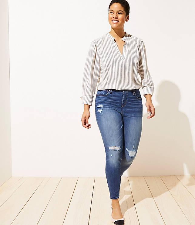 8fa3cd9213b3d0 LOFT Plus Modern Distressed High Waist Skinny Jeans in Mid Indigo Wash